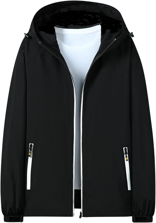 Mens Rain Coat Waterproof Windproof Outdoor Jacket Slim Fit Long Sleeve Lightweight Zip Up Hooded Outwear With Pockets