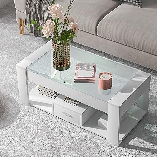 ModernLuxe Mesa de café con tablero de cristal, tacones y 1 cajón, mesa de almacenamiento Sofatee para el hogar o la oficina en el salón (blanco 100 x 50 x 40 cm)
