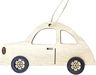 iZHH Christmas Wooden Ornament Xmas Tree Hanging Supplies Wood Car Decorations for Holiday