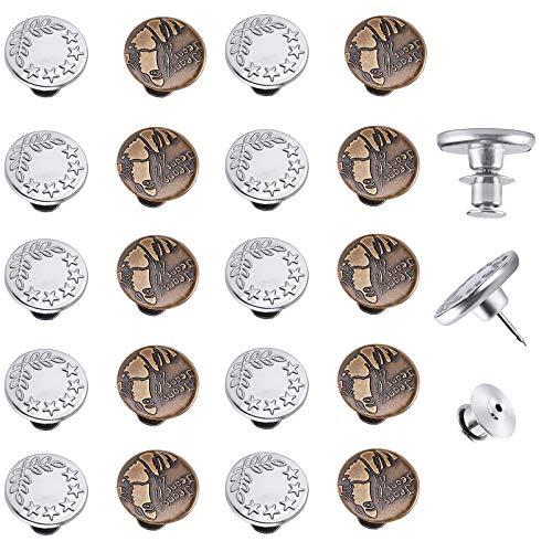 20 Set Bottoni Jean Nessun Bisogno di Cucire Bottoni Istantanei Spille in Metal Bottoni Automatici Regolabili Bottoni Vintage Bottoni da Cucire Spille per Jeans Artigianato Pantaloni da Cucito (17MM)