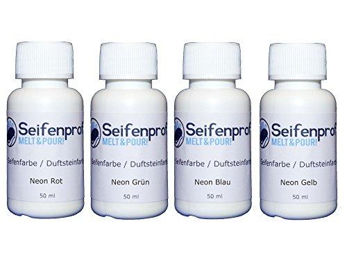 Seifenprofis 4er Seifenfarben - 200ml Sortiment (Fluoreszierend Rot, Grün, Blau, Gelb) 4 x 50ml