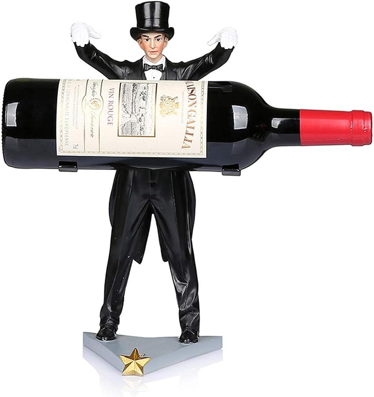 PLDDY Pet Bag Novelty Wine Bottle Holder Creative Personality Resin Wine Rack Free Standing Countertop Bottle Holder, Home Decor  Black, H 31 Cm Pet Bicycles