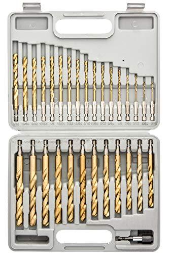 "Tooluxe 10055L Titanium Coated Hex Shank Drill Bit Set, 30 Piece   Quick Change Design   1/16"" - 1/2"""