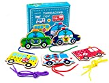 Promise Babe 5 Pack Wooden Cars Lacing Cards Wood Block Puzzle...