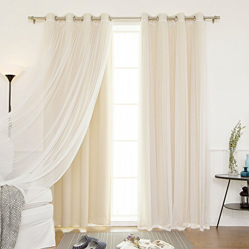 "Best Home Fashion uMIXm Mix and Match Tulle Sheer Lace & Solid Blackout 4 Piece Curtain Set – Stainless Steel Nickel Grommet Top (52"" W x 96"" L – Each Panel, Beige)"
