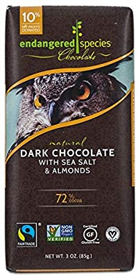 Endangered Species Bat, Puffin, (72%) Dark Chocolate with Cherries , 3-Ounce Bars (Pack of 12)