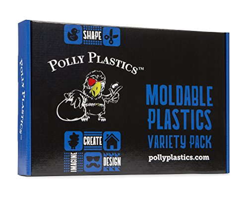 Polly Plastics Moldable Plastic Variety Pack – Moldable Pellets, Sheets, Strips and Colors