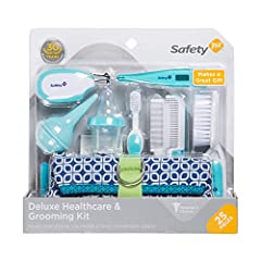 25 pieces including a deluxe zippered adjustable case Gentle care brush, comb, cradle cap comb and toddler toothbrush Steady grip nail clippers and 5 emery boards 3 in 1 thermometer (with case) and 5 thermometer probe covers Clear tip nasal aspirator...