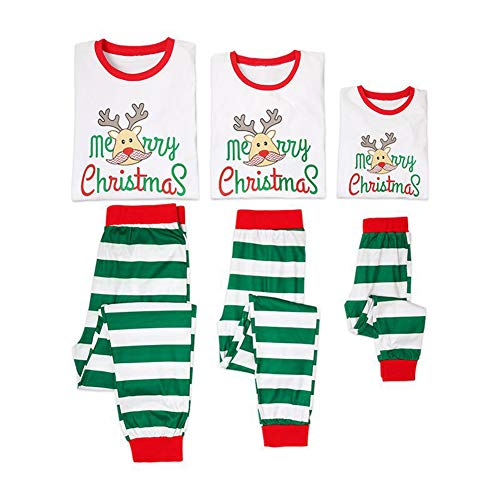 Gyratedream Christmas Matching Family Pyjamas,Family Christmas Pyjamas Cotton Matching Christmas Pyjamas Family Xmas Reindeer Outfits Long Sleeve T-Shirt Romper+ Stripe Long Pants Pajamas Set