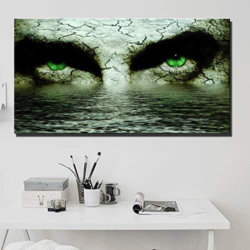 Baodanla Plakkaat met groot gezicht, geen lijst, met een afbeelding van abstracte gezichtsogen met waterolieverfschilderij, woonkamerwand