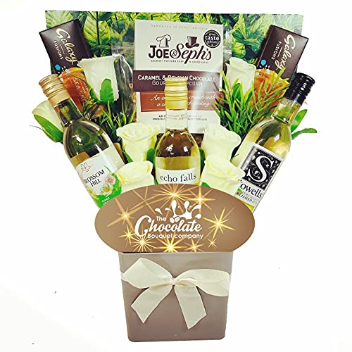 The White Wine Collection & Chocolate Bouquet Gift Hamper in Presentation Box (3 x 187ml 12.5% ABV)