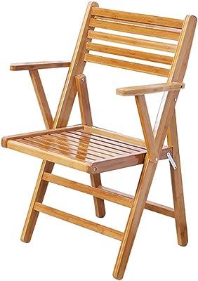 木製の折りたたみ椅子スツールポータブルダイニングチェアベアリング付きアームレスト付きホテル快適で快適な背もたれホテルバルコニーレジャーシート