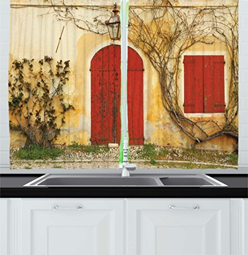 """Ambesonne Shutters Kitchen Curtains, Doorway with Blinded Door and Window with Creeper the Rural Tuscan House in Italy Europe, Window Drapes 2 Panel Set for Kitchen Cafe Decor, 55"""" X 39"""", Yellow Beige"""