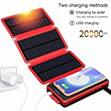 POWOBEST Solar Charger,Solar Power Bank 20000mAh Portable Waterproof Camping Gear Wireless Solar Phone Charger,Solar Battery Pack,Portable Outdoor Power Bank with Led Light Flashlight