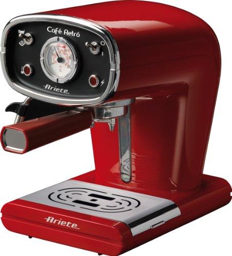 Ariete 1388-30 1388/31 CAFETERA ESPRESSO NEGRA CAFE RETRO, 900 W, 2 Cups, Rojo