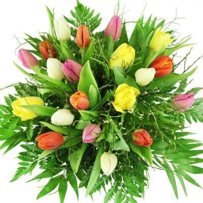 """Bunter Tulpenstrauß"" - Blumenstrauß mit 20 bunten Tulpen"