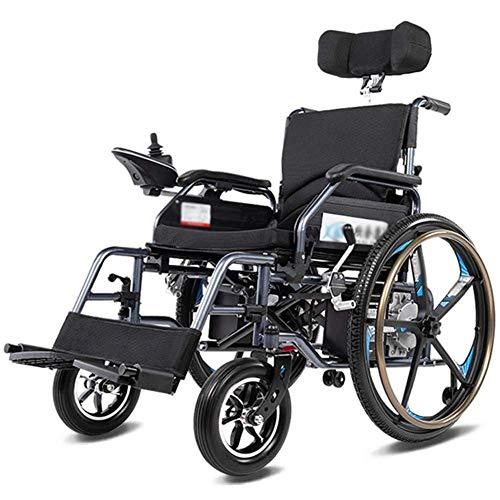 HIGHKAS Elektrischer Rollstuhl zusammenklappbarer elektrischer Rollstuhl, Faltbarer elektrischer Kleiner mobiler Rollstuhl mit Unterstützung, leistungsstarker zweimotoriger Rollstuhl, zusammenklapp