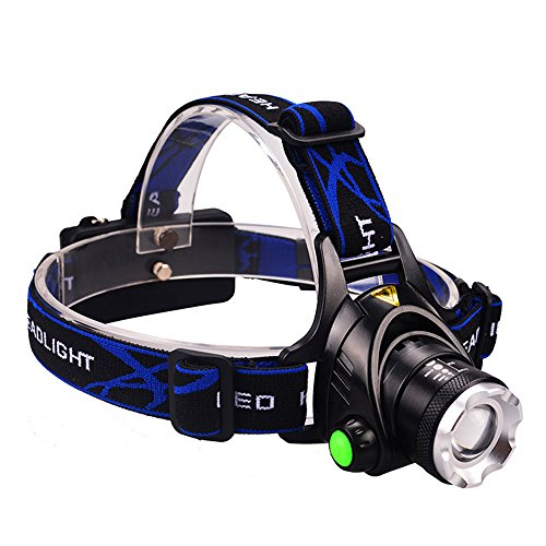 GRDE Headlamp, Zoomable Brightest High LED Work Headlight 3 Modes with Rechargeable Batteries...