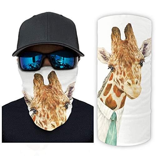 CCMugshop Bandana mscara facial divertida jirafa Gentleman Print Dust Cloth UV Residence White One Size