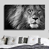 ファッションキャンバス絵画 装飾的なライオンとフライの動物写真キャンバスプリント壁の写真リビングルーム白黒現代ポスター印刷絵画 60*90cm