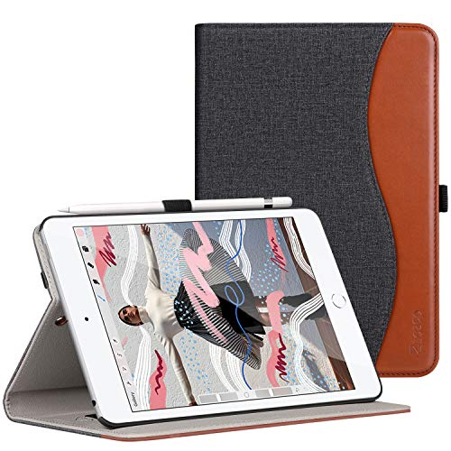 ZtotopCase Cover per Nuovo iPad Mini 2019,Premio Pelle Affari 2019 iPad Mini 5 7.9 Pulgada Custodia Case,Auto Wake & Sleep,Documento Carta Slot,Multi-Angolo,Denim Nero