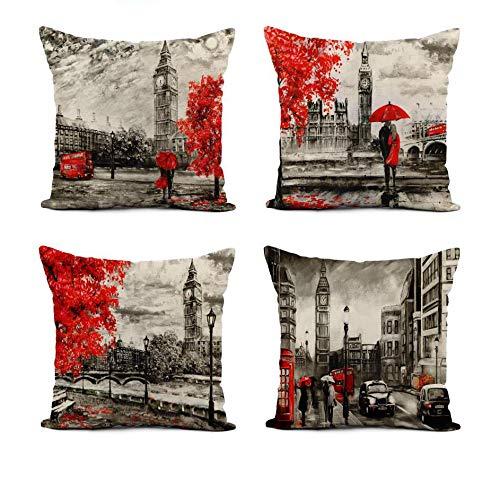 Awowee - Set di 4 federe per cuscino in lino con pittura a olio su tela, Street View di Londra, 40 x 45 cm, decorazione per la casa quadrata in lino, per divano