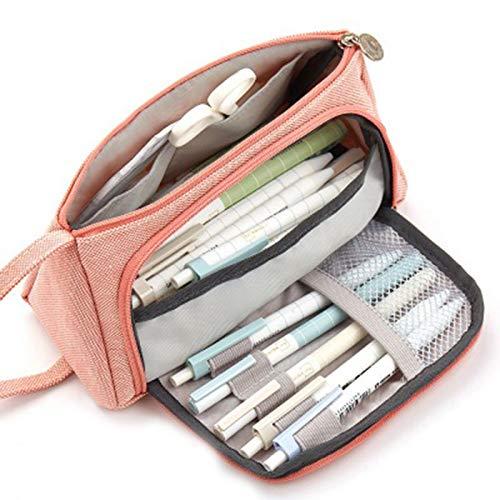 Wollaston Estuche de lápices de lona con gran capacidad para mujeres, multifuncional, sencillo y bonito, para mujer
