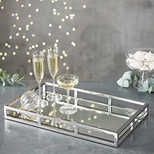 Le'raze Mirrored Vanity Tray, Decorative Tray with Chrome Rails for Display, Perfume, Vanity, Dresser and Bathroom, Elegant mirror tray Makes A Great Bling Gift –16X10 Inch