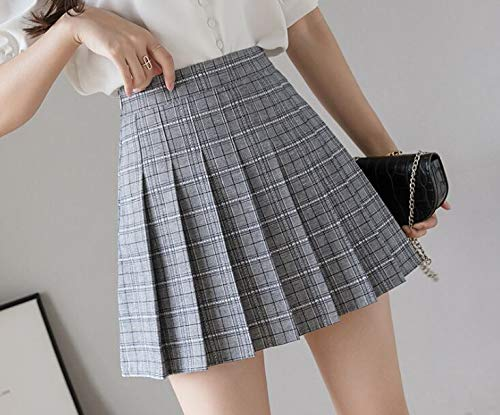 Kilts Skirt Women Plaid High Waist Skirt Stitching Student Pleated Skirts Women Cute Sweet Girls Dance Mini Skirt M Lightgray4