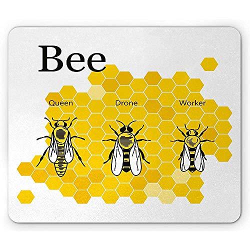 Queen Bee Mouse Pad, Computer Grafische Educatieve Tekening van Koningin Drone en Werker, Rubber Mousepad, Aarde Geel Grijs en Wit