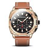 Uhren, Herren Quarz wasserdichte Uhr, Sport Analog Leder Armbanduhr für Herren