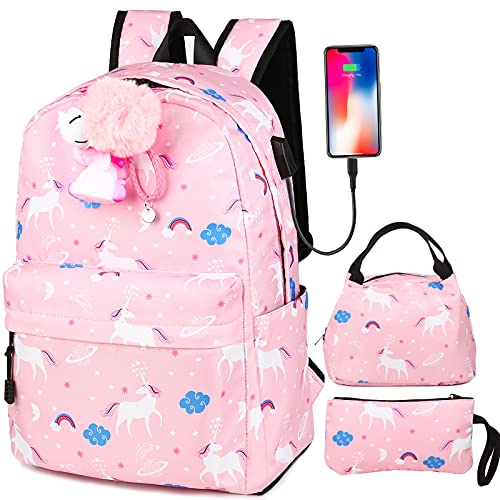School Backpack for Teen Girls Kids Backpack with Lunch Box USB Charging Port Preschool Kindergarten BookBag Set