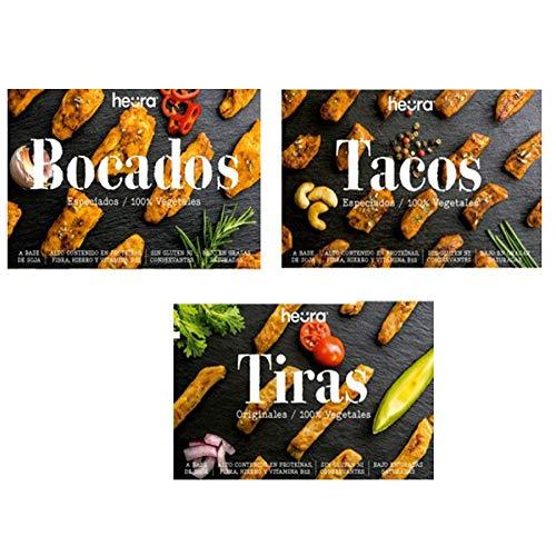 Pack de 3: Bocados, Tiras & Tacos HEURA 180g   100% Vegetales   Sin Gluten