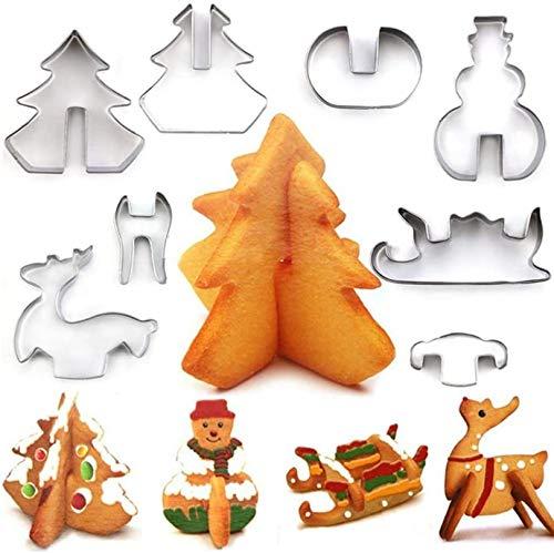 Eastor 8 Stück 3D-Keksform, Weihnachtsplätzchen Schimmel,Edelstahl-Plätzchen-Form,Weihnachtsplätzchen Machen DIY Keksform Plätzchenform Kekse Backen Küche Zubehör