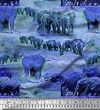 Soimoi Lila Samt Stoff Baum & Elefant Tier gedruckt Craft
