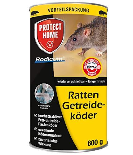 PROTECT HOME Rodicum Ratten Getreideköder praktische Portionsbeutel zur Fixierung in Köderboxen, Vorteilspack für ausgedehnten Rattenbefall, 600g, Metalldose