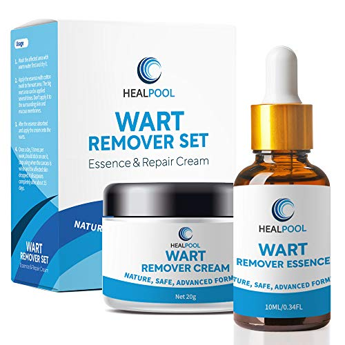 Wart Remover Set by HealPool, Wart Removal Essence and Repair Cream for Plantar, Common, Genital Warts
