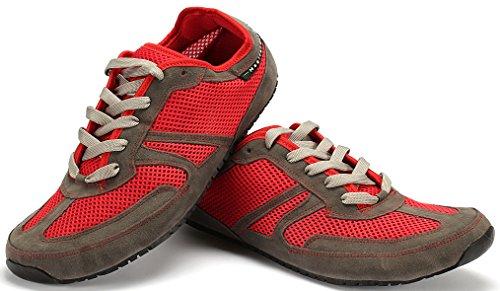 Magical Shoes Explorer Vegan Barfußschuhe | Damen | Herren | Jugendliche | Laufschuhe | Zero Drop | Flexibel | Rutschfest, Größen:47/302mm, Farbe:MS Explorer Vegan - Grau/Rot