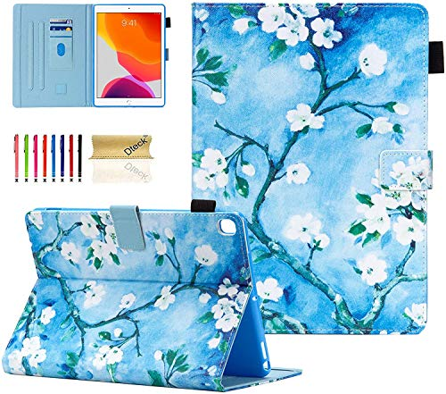 Dteck iPad 8th/ 7th Generation 2020/2019 10.2' Case, Slim PU Leather Folio Folding Stand Protective Shockproof Smart Cover with Pencil Holder Auto Wake Sleep Case for iPad 10.2 Inch, White Flower