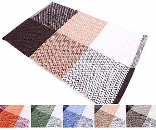 Madrid - Alfombra de algodón lavable para baño, cocina, antideslizante, 50 x 80, 55 x 110, 55 x 180, 55 x 240, varios colores, lavable a máquina a 30 °C