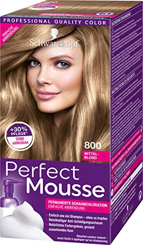 Schwarzkopf Perfect Mousse Permanente Schaumcoloration, 800 Mittel-Blond Stufe 3, 3er Pack (3 x 93 ml)