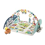 Infant activity gym with extra-large, machine-washable playmat that becomes a vehicle mat for toddler play Jumbo playmat reaches over 3.5 feet long for plenty of space for lay & play, tummy time, and vehicle zooming Motion-activated ice cream truck...