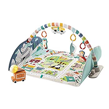 Fisher-Price Activity City Gym to Jumbo Playmat infant to toddler activity gym with music lights vehicle toys and extra-large playmat Multi