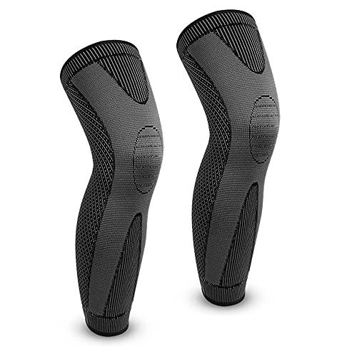 Full Leg Compression Sleeve for Men, Yanqueens Long Knee Brace for Women, Basketball Leg Sleeve for Running, Varicose Veins, Arthritis Cycling Sport (1 Pair) (Black, X-Large)