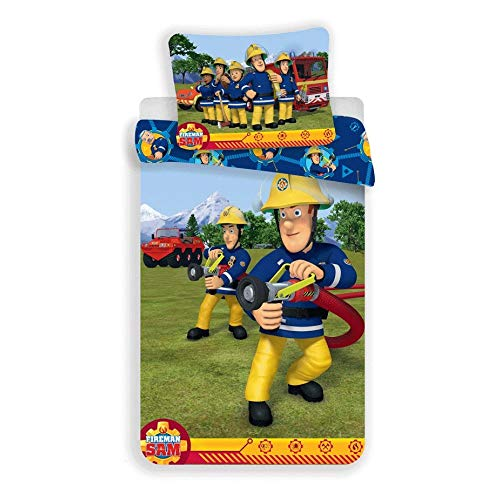 Fireman Sam Feuerwehrmann Bettwäsche, Bettbezug 100 x 135 cm, Kissenbezug 40 x 60 cm