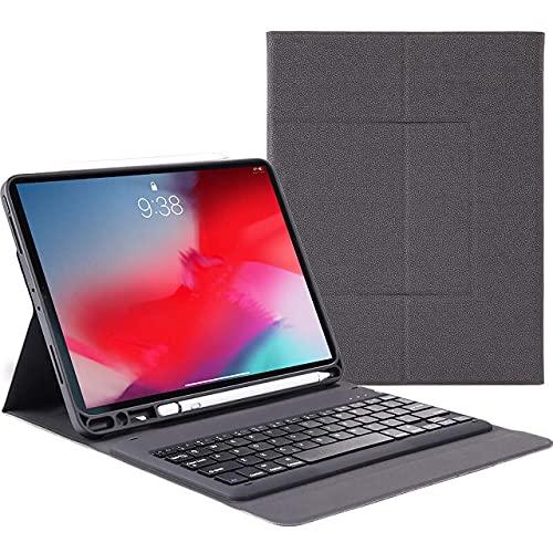 Ipadpro11 - Funda para teclado para iPad Pro 11 (2018, teclado inalámbrico Bluetooth, compatible con carga de lápiz, ultrafina, de piel sintética, con soporte para lápices, color azul
