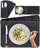 Miqio® Design Filz Tischset abwaschbar | Mit Marken Echtleder Label | 18er Set - 6 Platzsets abwaschbar, Glasuntersetzer, Bestecktaschen | dunkel grau anthrazit | Filzmatte Platzdeckchen abwischbar