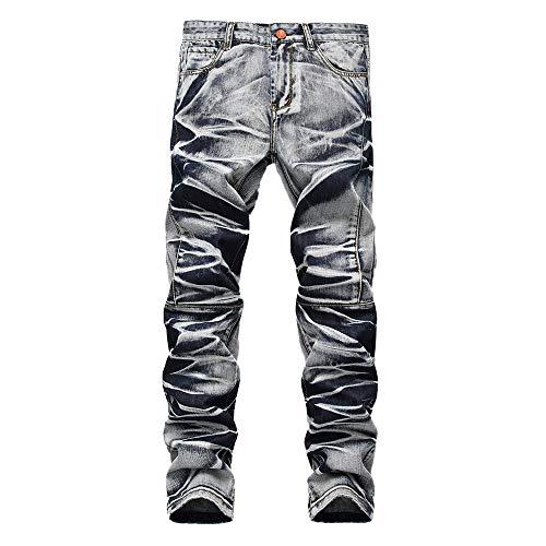 Lookatool Jeans Men's Straight Leg Slimming Fit Distressed Loose Denim Jeans 31 Blue