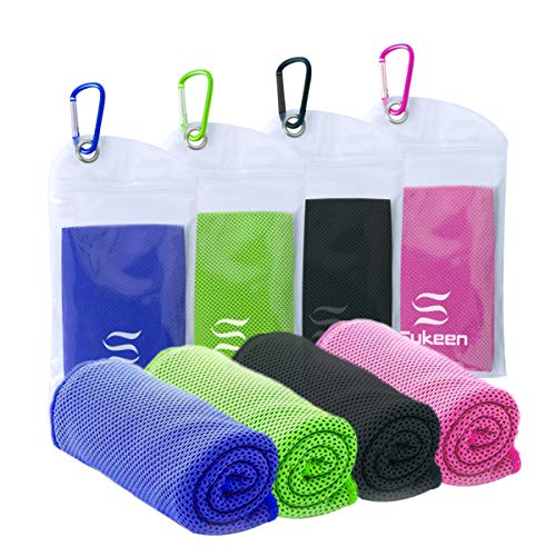 """[4 Pack] Cooling Towel (40""""x12""""),Ice Towel,Soft Breathable Cool Towel,Microfiber Towel for Yoga,Sport,Running,Gym,Workout,Camping,Fitness,Workout & More Activities"""