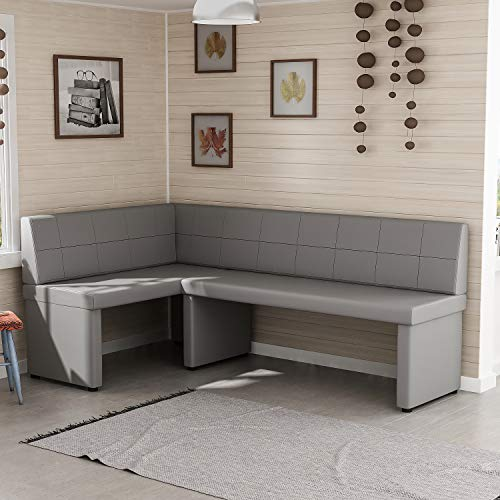 Reboz hoekbank keukenbank 128 x 168 cm van kunstleer zithoek 128x168cm links grijs